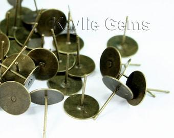 Earring Stud Post 10mm Pad Antique Brass 12mm Long - 100 pcs
