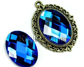 Oval 18x25 Mirror Glass Cabochon Cab Faceted Checker Cut Dome - Royal Blue- 2pcs