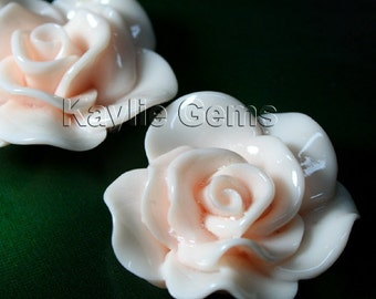 Large Rose Flower  Cabochon Cabs 30mm Vivid Ruffle Petals - Light Pink - 4pcs