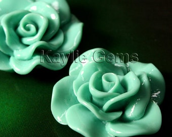 Large Rose Flower  Cabochon Cabs 30mm Vivid Ruffle Petal - Teal