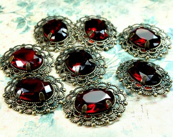 Deep Red 13x18 Oval Glass Jewel Vintage Looking Antique Brass Filigree Pendant 2 pieces