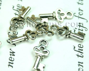 Small Skeleton Key Charms Earring Drop -Antique Silver -12pcs