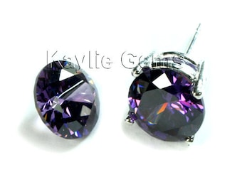 10mm Round Cubic Zirconia CZ Diamond Brilliant Cut -Tanzanite - 2pcs