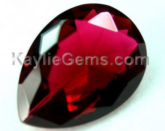 Glass Jewel 18x25mm Tear Drop Faceted Diamond Cut Pointed Back Unfoiled - Rose Red BR135 - 1 Piece