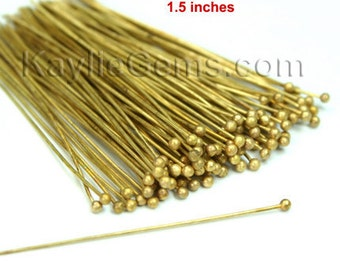 Headpins Ball Tip Head End Raw Brass 38mm 1.5 inches 22 Gauge -100pcs