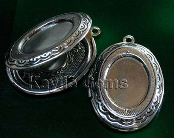 Oval Lockets Hand Touched Antique Silver Cameo Cabochon Frame Setting Victorian Style   -  LKOS-95AS -2pcs