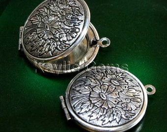 Round 27mm Hand Touched Antique Silver Flower Face Locket  Pendants - LKRS-X21AS -4pcs