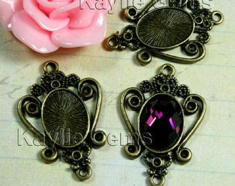 Victorian ornamental Cameo Cabochon Setting Connectors Rhinestone Embellish - Antique BRASS - FRM-5717AB - 4pcs