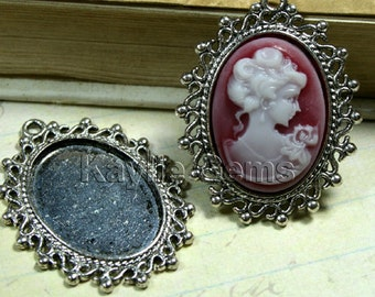 Victorian Ornamental Cameo Setting Frame Fits 18x25 Antique SILVER Filigree Edged -FRM-15289AB -4pcs