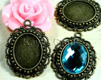 Cabochon Cameo Setting Frame Fits 18x13 Oval Antique Brass Victorian Filigree Edge -FRM-A15288AB -4pcs