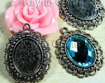 Cabochon Cameo Setting Frame Fits 13x18 Oval Antique Silver Victorian Filigree Edge -FRM-A15288AB -4pcs