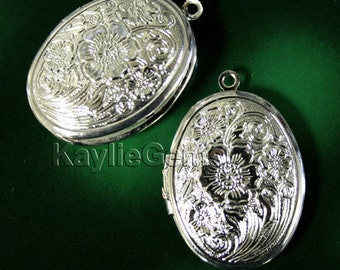 4 Lockets Oval Cherry Blossom Flower BRIGHT Silver Victorian Style  -  LKOS-L1SP - 4pcs