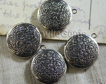 Round Locket Hand Touched  Antique Silver Floral Victorian 20mm   - LKRS-1405AS - 4 pcs