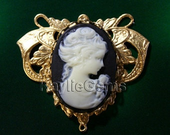 1 Set DIY Art Nouveau Filigree Stamping Cameo Connector Center Piece Baroque Victorian Style Raw Brass
