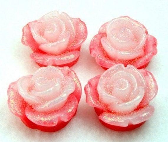 4 Resin Glittered Rose Flower Cabochons 20mm - Red White