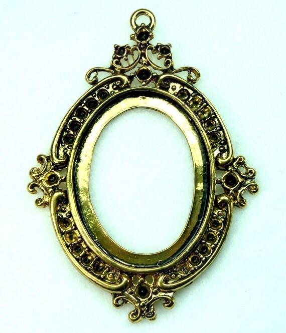 Antique Gold Cameo Setting Frame Vicatorian Rhinestone Embellish - FRM-5831AG - 2 pcs