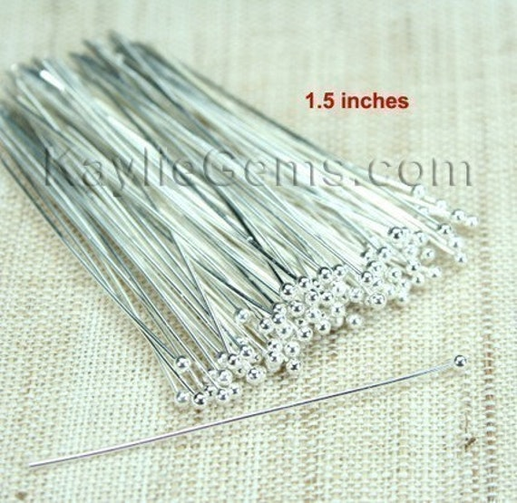 For Pearl Ball Tip Headpins Silver 38mm 1.5 inches 24 Gauge - 50pcs