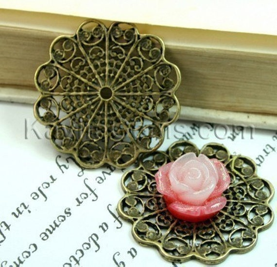 Round Antique Brass Victorian Style Filigree Connector, Cameo Cabochon Base -FRM-3038AB 4pcs