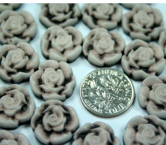 Rose Cameo Cabochon Flat back 14mm - Antique Creamy Coffee -10pcs
