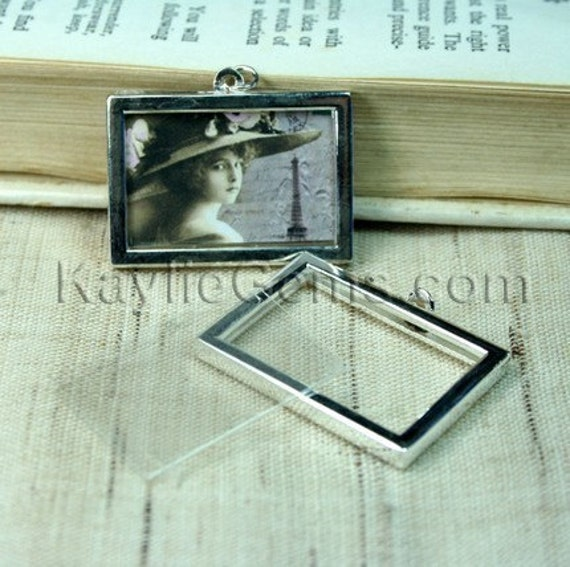 Picture Frame Charm Pendant Double Sided Rectangle Landscape 34x24mm - Silver Plated - 2 Sets
