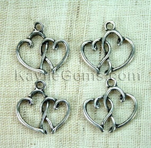 Reserved for ----Cat Williamson ----8 lots of 8pcs Antique Silver Double Heart Love Charm Pendant in Swirly Design