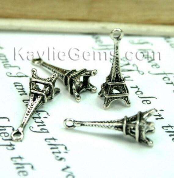 Paris Eiffel Tower charms Antique Silver - 6pcs