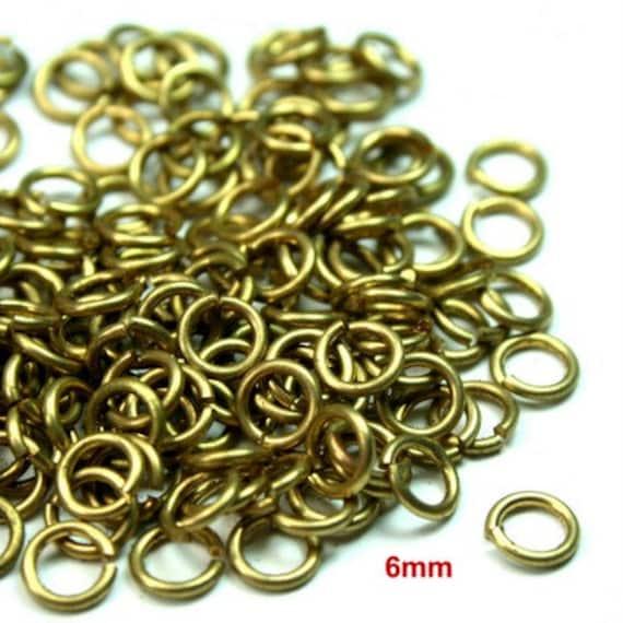 100pcs 6mm Open Jump Ring Raw Brass 6mm 18 Gauge JRO-6x1.0RB -100pcs