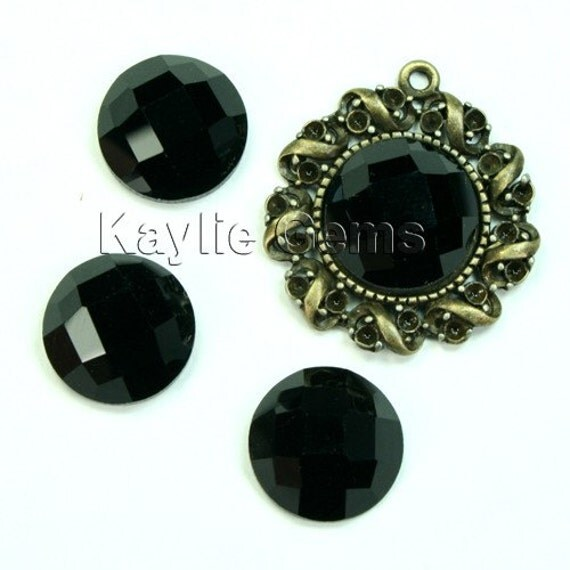 Mirror Glass Cabochon cab 14mm Round Checker Cut Faceted Dome -Jet Black- 4pcs