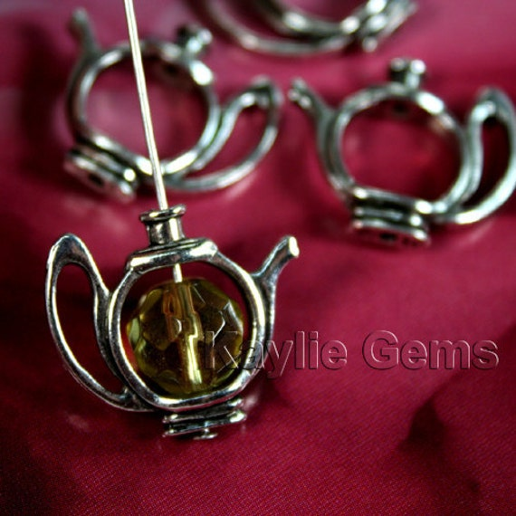 Tea Pot Bead Charm Antique Silver - 6pcs