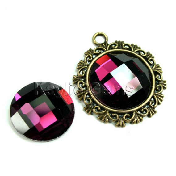 Mirror Glass Cabochon cab 20mm Round Checker Cut Faceted Dome -Amethyst - 2pcs