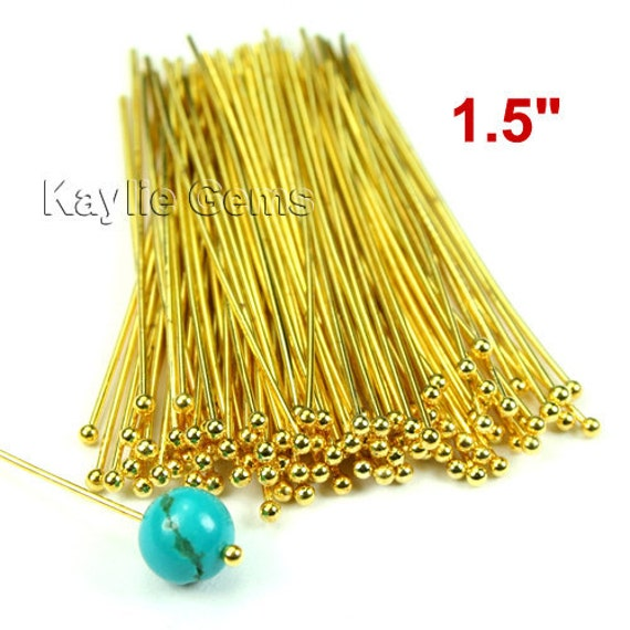 Ball Tip Headpins Gold 38mm 1.5 inches 22 Gauge - 100pcs