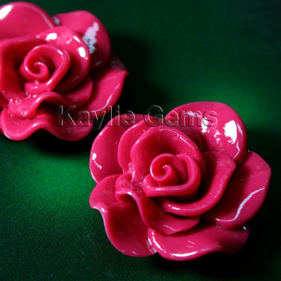 Large Rose Flower  Cabochon Cabs 30mm Vivid Ruffle Petals - Deep Pink  - 4pcs