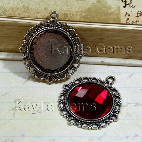 Round 20mm Cabochon Setting Frame Pendant Filigree Baroque Edge Antique Silver -FRM-15290AS -4pcs