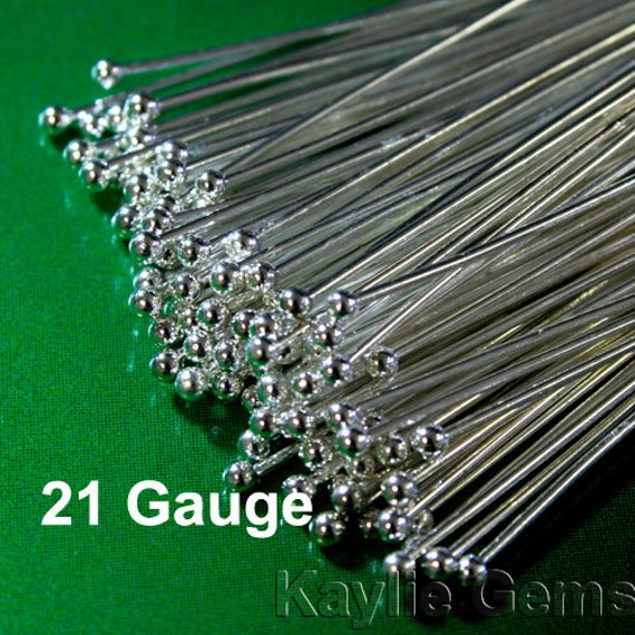 100pcs Head pins Ball Tip Head End Silver 50mm 2 inches, 21 Gauge - Thick Strong
