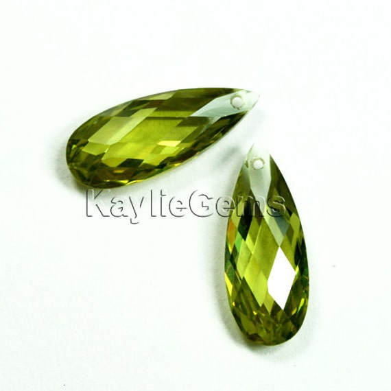 20x8x5mm Cubic Zirconia CZ Faceted Flat Briolette Tear Drop - Olivine - 1pc
