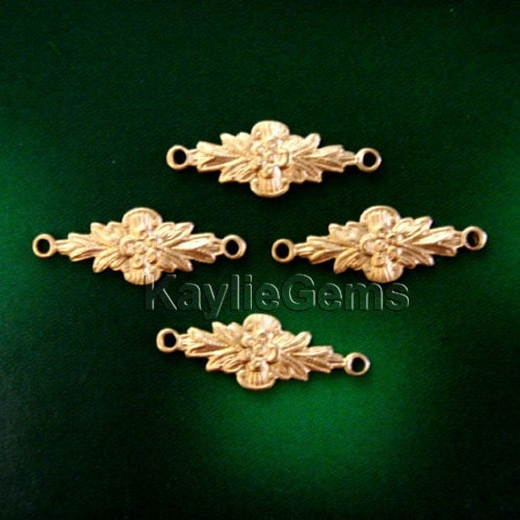6 Flower Filigree Stamping Connector Small Raw Brass Victorian Style Premium Quality USA G6279RB