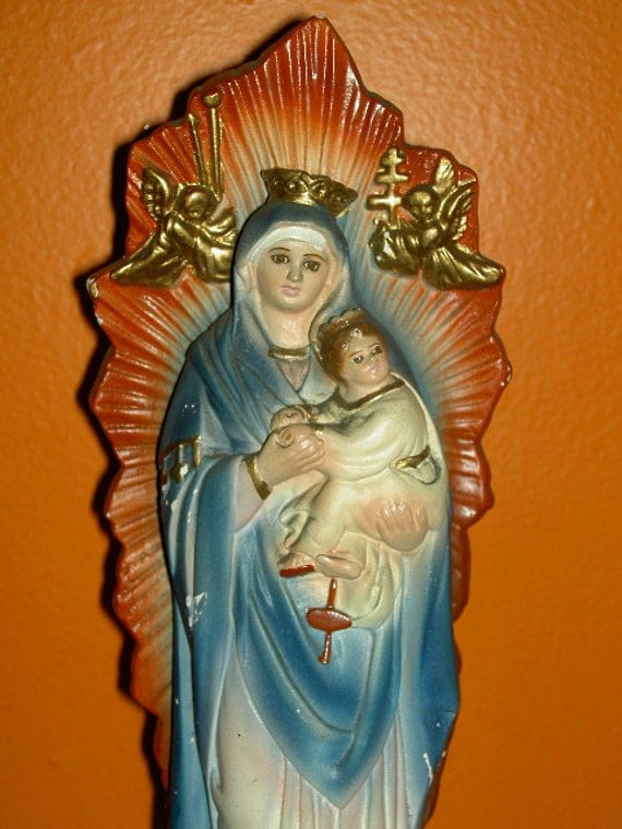 Our Lady of Perpetual Help with Baby and Starbust Handpainted Catholic Statuette Religious 1979-1980 Indoor