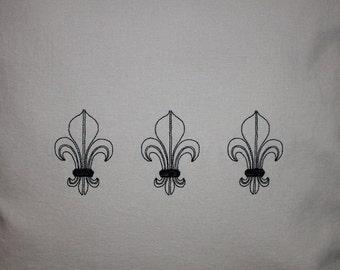 CUSTOMIZABLE Fleur de Lis Embroidered Throw Pillow Cover