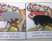 Acrylic Hippo Brooch