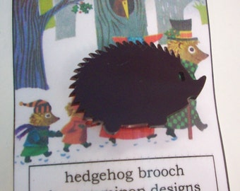 Hedgehog Brooch - laser cut acrylic