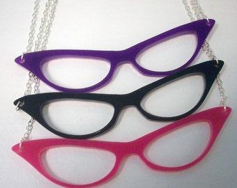 Laser Cut Acrylic Necklace - Cat's-Eye Glasses