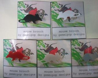 Mouse Brooch - Laser Cut Acrylic