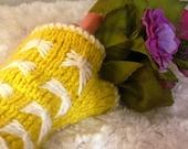 hand knit fingerless mitts in lemon yellow