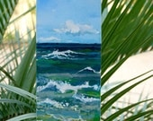 "Original Beach Painting with PERSONALIZED names in the sand - 4""X12"" oil or acrylic"