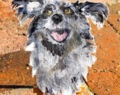"Custom Pet portraits       Example:   Original oil painting of Nubbins the dog.  3""X5"" cut out canvas  Easel included on Etsy"