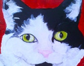 "Custom Pet portrait:      Example  Spot  is a 4""X4""  Oil painting on  art board ready to place on a shelf, desk, nightstand, or wall.,"