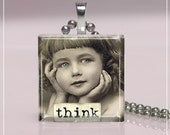 Glass Pendant- Dream, Love, Wish... (10G14)-Vintage Girl Square Glass Tile Pendant- FREE SHIPPING On 4 Or More Pendants