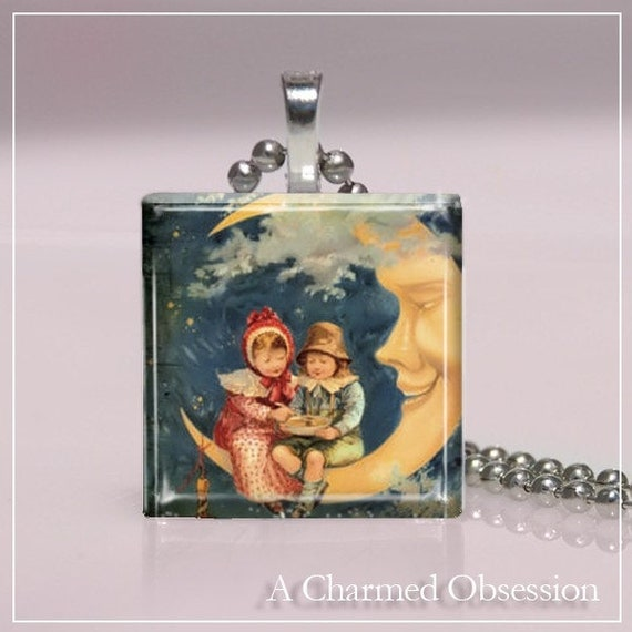 Glass Tile Pendant- Victorian Halloween (7J21) FREE SHIPPING ON 4 OR MORE PENDANTS