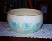 Vintage Wheel Thrown Heavy Serving Bowl  /  Mint Green and Periwinkle
