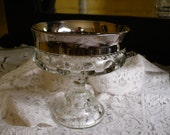 Vintage Kings Crown Thumbprint Compote with Silver Overlay Rim